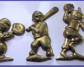 Baseball Brass Wall Decor Figures -Vintage