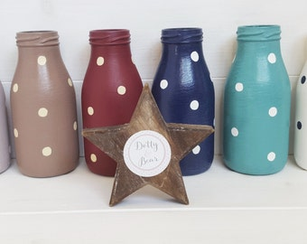 Polka Dot Bottles - Made to order in a choice of colours and sizes