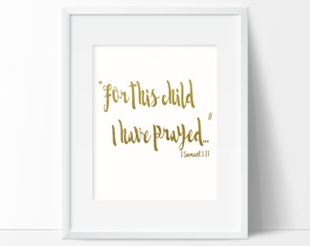 For This Child I have Prayed Printable Wall Art