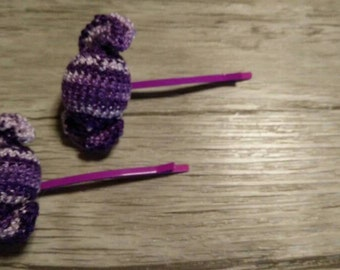 Candy amigurumi hair clips purple