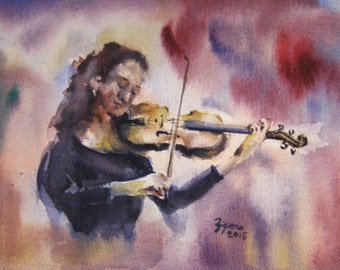 Violinist. Print of music watercolor painting. Home decor, office decor, or greeting card.