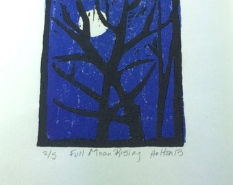 Full Moon Rising -- Woodcut Print