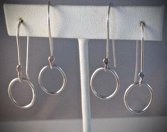 Silver earrings - Oval hoop earrings