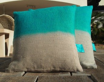"Pillow natural linen ""Tie & Dye Blue Lagoon"" Collection ""The Bandit Queen"", 100% handmade"