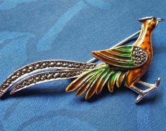 Vintage Marcasite and enamal brooch  - Pheasant - 1930's