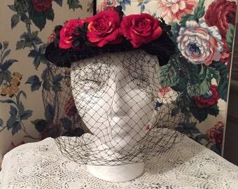 Black Velvet Vintage Pill Box Hat