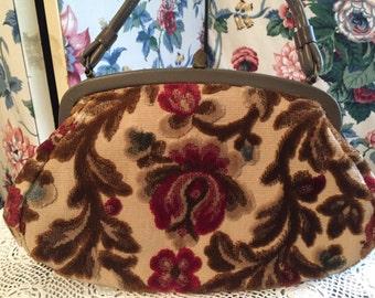Vintage Brown and Tan Brocade Purse