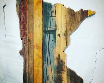 "24"" Minnesota Reclaimed Wood Cutout - Wall Art"