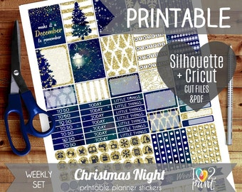 Christmas Night Weekly Printable Planner Stickers, EC Planner Stickers, Weekly Planner Stickers, Christmas Stickers  - Cut files