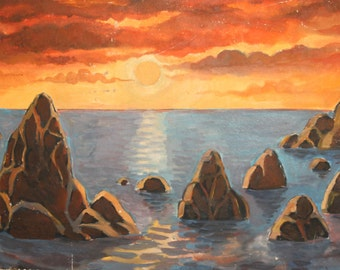 1997 Sunset seascape oil painting signed