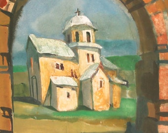 1991 oil painting landscape church signed