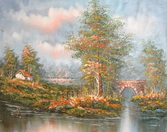 Vintage Impressionist oil painting river landscape bridge signed