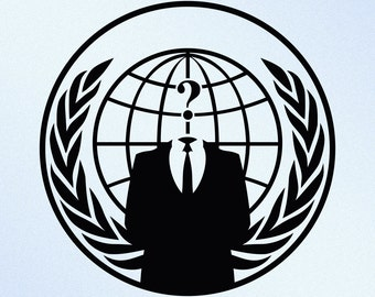 Anonymous Globe Question Mark Vinyl Decal Sticker