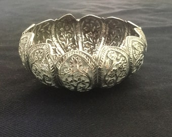 Antique small silver bowl, lotus shape with embossed flowers