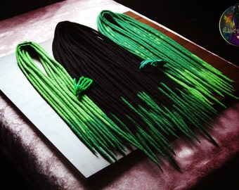 "Set of wool dreads "" Hulk "" (black,green)"