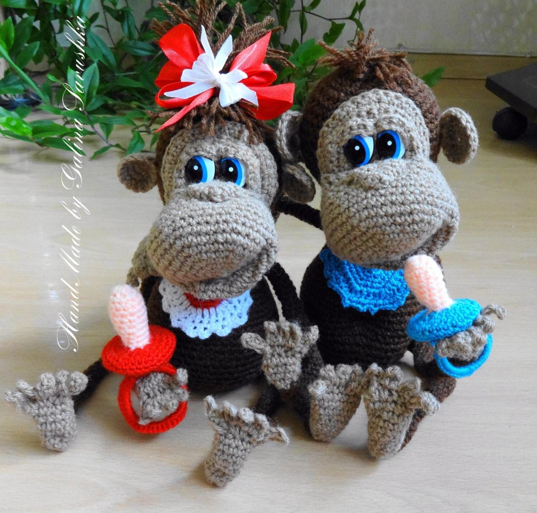 Amigurumi Valentine : Crochet Monkey Valentine day doll toy amigurumi Monkey