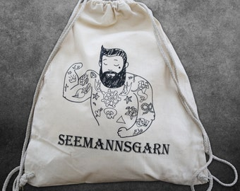 Gymbag Seemannsgarn DrawString backpack tattooed sailor Kitbag silkscreen screen printing