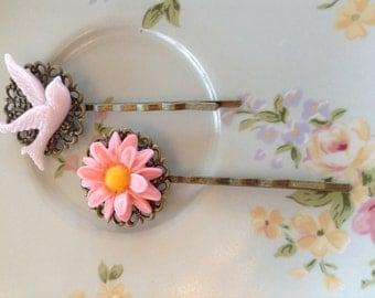 Bird and flower hairpins
