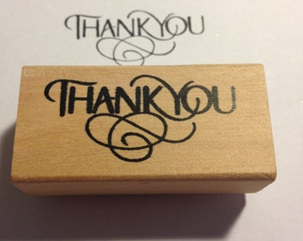 Wood Rubber Thank you Stamp
