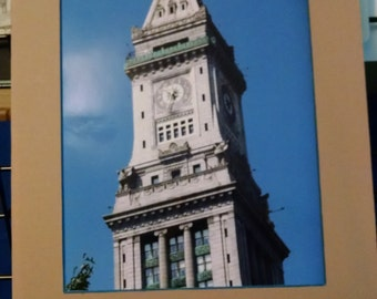 Clock Tower at Boston Harbor 8x10 matted to 11x14