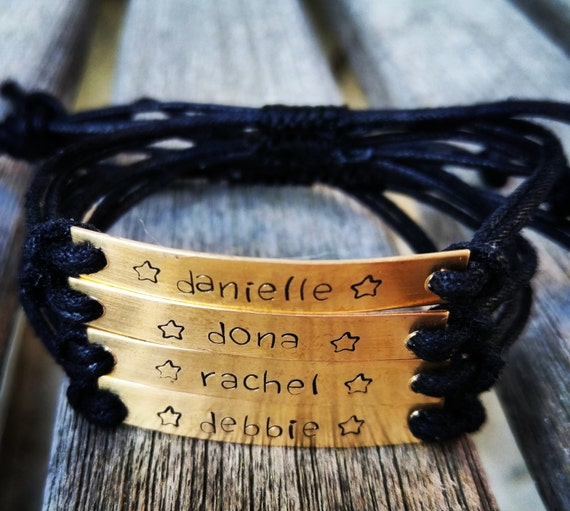 Hand stamped personalized friendship, custom hand stamped bracelet