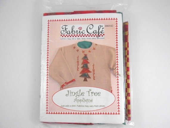 Jingle Tree Applique by Fabric Cafe Just Add the Shirt Sweatshirt Applique DIY Christmas Craft Project Jingle Bell Assorted Fabrics Ribbon