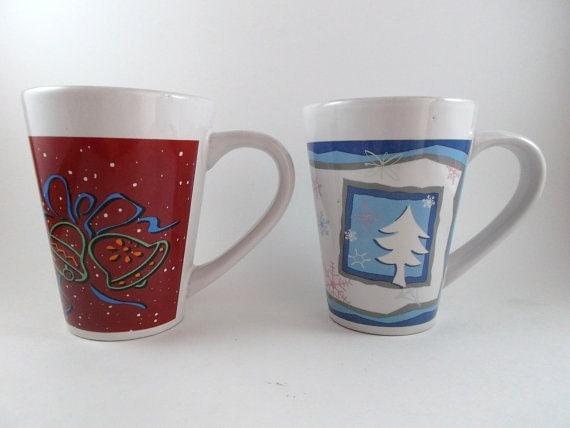 Vintage Mugs Christmas Cups Ceramic Lovett Mugs Holiday Cups Set of Two Mugs Coffee Mugs Christmas Cups Kitchenware Houseware Diningware