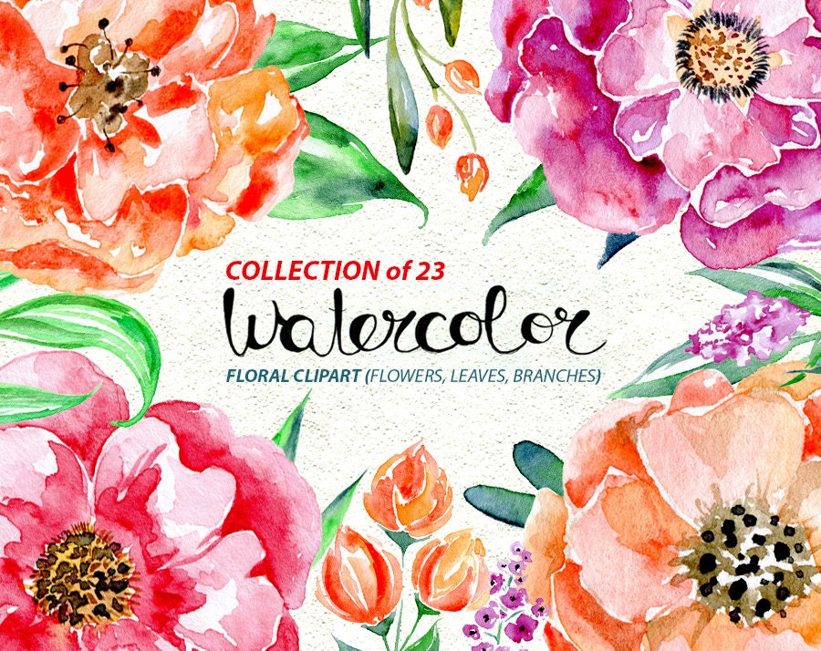 Watercolor Flower Clipart 23 Purple Red Pink Flowers Aquarelle Digital Clip Art Watercolour