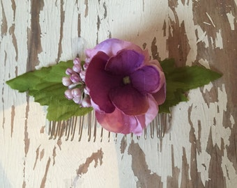 Purple Flower Berries Forest Hair Comb