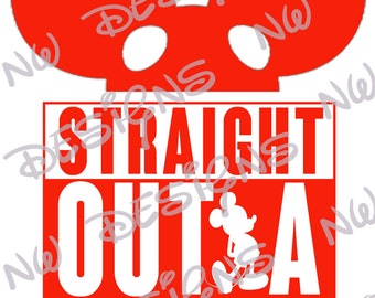Straight Outta Disney Mickey Ears DIY Printable Iron on Transfer Red