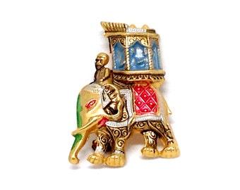 Exquisite Signed SPAIN Damascene Elephant Gold Tone Vintage Estate Brooch