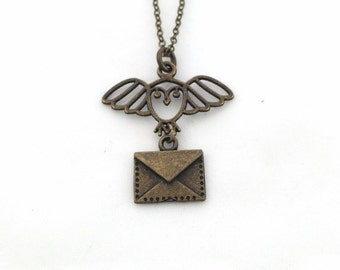 hedwig necklace - owl post necklace - hedwig and owl post necklace - harry potter gift - harry potter necklace - owl necklace - harry potter