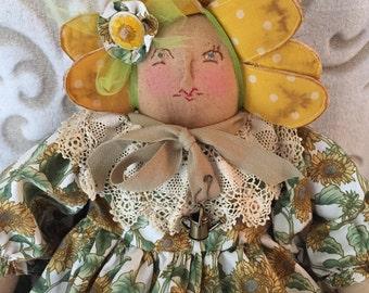 Primitive Folk ArtRag doll, handmade art doll, raggedy doll, folk art doll, home decor, handmade raggedy doll, Primitive decor, country deco