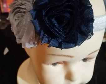 Grey and navy flowered headband