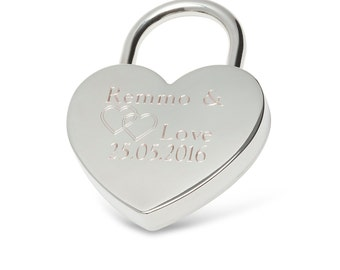 Engraved heart lock