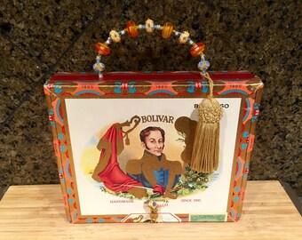 Bolivar Cigar Box Purse w/Beaded Handle/Clasp