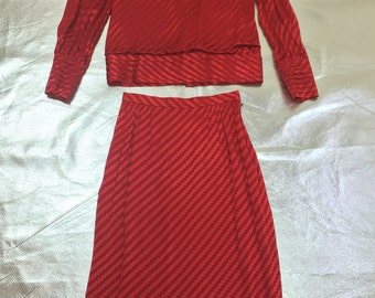 Vintage 1980s Electric Zig-Zag Red Skirt Set