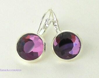 Silver cabochon earrings * purple crystals in Silver * earrings handmade