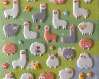 Kawaii puffy stickers Alpaca sheep