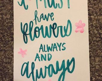 Flowers Claude Monet Quote Watercolor Print