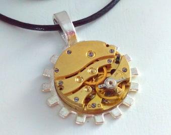 Upcycled, sun pendant,  watch movement, Steampunk pendant, steampunk necklace, steampunk, handmade steampunk, steampunk pendant necklace, #1