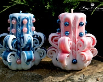 Little candle - carved candles - small candles - a gift - a set of candles - Gift Idea - blue candle - pink candle