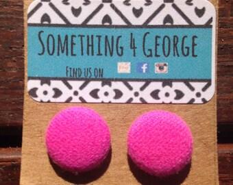 Fabric button stud earrings