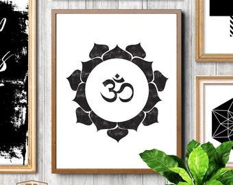 Om, Ohm, Om Symbol, Meditation, Yoga, Lotus Flower, Print, Lotus, Mandala, Wall Decor, Zen, Yoga Studio, Breathe, Yoga Art