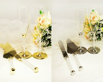 Wedding Toasting Flutes Champagne Knife and Wedding Cake Server Set Personalized Engraved