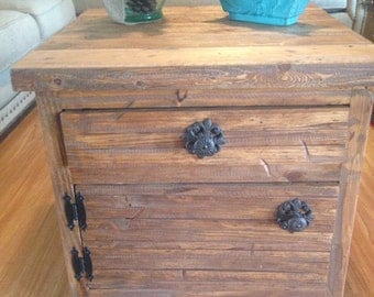 Rustic, reclaimed wood look end tables or night stands