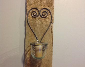 Barnwood candle sconce