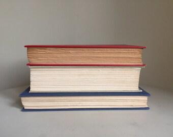 Red white Blue decor, vintage blue gold beige books, Blue Book Stack, vintage decor, instant library, Red Book Stack