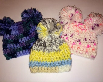 Crocheted Baby Hats w/Poms Boys and Girls