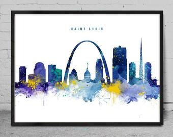 Saint Louis Skyline, Saint Louis Missouri Cityscape Art Print, Watercolor Painting, Wall Art, Cityscape, City Wall art, Artwork, Art -x146